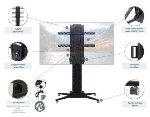 Suport mobil pentru televizor cu funcție de elevare TV